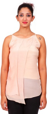 Aggana Casual Sleeveless Solid Women's Beige Top