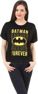 Batgirl Casual Short Sleeve Printed Women's Black Top
