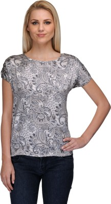 Curvy Q Casual Short Sleeve Printed Women's Beige, Black Top