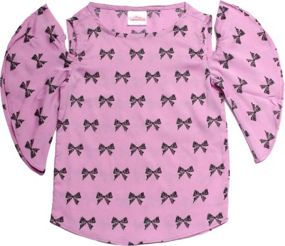Babeezworld Casual Butterfly Sleeve Printed Baby Girl's Multicolor Top