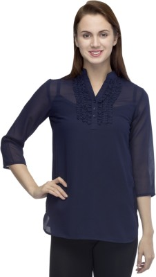 Primo Knot Casual 3/4 Sleeve Solid Women's Blue Top