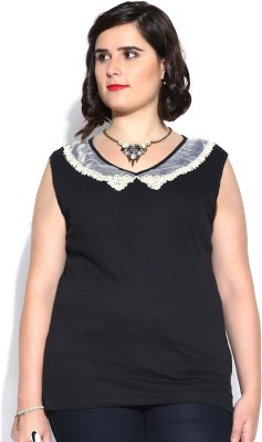 D Muse by DressBerry Casual Sleeveless Solid Women's Black Top