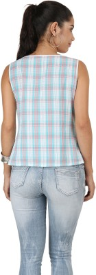 Uptowngaleria Casual Sleeveless Checkered Women's Multicolor Top