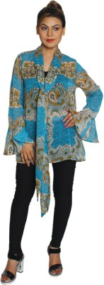 Feyona Casual Full Sleeve Printed Women's Blue Top