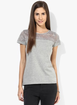 T-shirt Company Casual Short Sleeve Solid Women's Grey Top