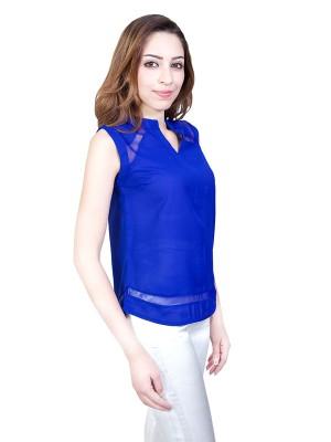 Urban Religion Casual Sleeveless Self Design Women's Blue Top