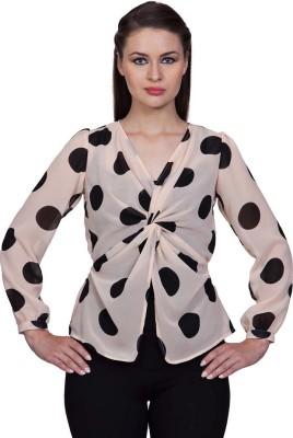 Stylestone Casual, Formal, Lounge Wear, Beach Wear, Party Full Sleeve Polka Print Women's Black, Pink Top
