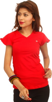 Adam n Eve Casual, Sports, Lounge Wear Short Sleeve Solid Women's Red Top