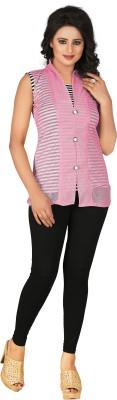 Khushali Party, Festive Sleeveless Self Design Women's Pink, White Top