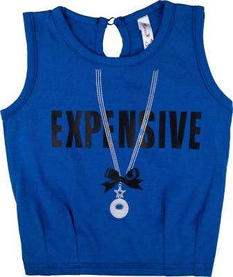 Hunny Bunny Casual Sleeveless Printed Girl's Dark Blue Top