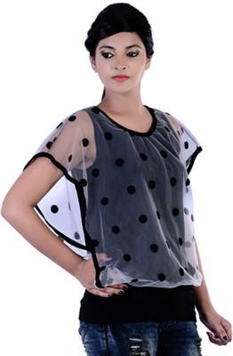 Divaz Fashion Casual, Party Sleeveless Polka Print Women's Black Top