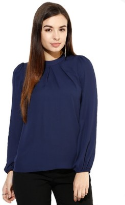 Archini Casual, Formal, Party Full Sleeve Solid Women's Dark Blue Top
