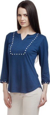 ORIANNE Casual 3/4 Sleeve Solid Women's Blue Top