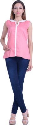 InBlue Fashions Casual Sleeveless Solid Women's Pink Top