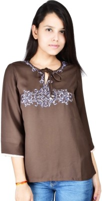 Palette Casual 3/4 Sleeve Embroidered Women's Brown Top