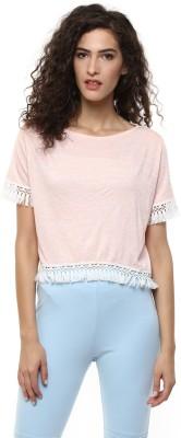 BLUE ISLE Casual Short Sleeve Self Design Women's Black Top