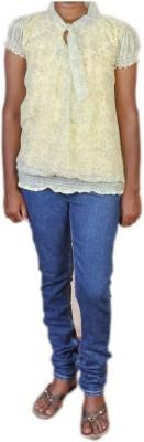 Jhumri Casual Short Sleeve Floral Print Girl's Yellow Top