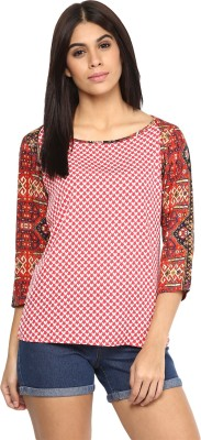 AR2 Casual 3/4 Sleeve Printed Women's Red Top