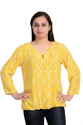 Parv Collections Casual 3/4 Sleeve Printed Women's Yellow Top