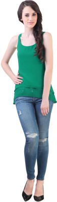 Vvine Party, Casual Sleeveless Self Design Women's Green Top