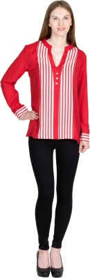 JAPPSHOP Casual Full Sleeve Striped Women's Red Top