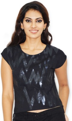 Riot Jeans Casual Sleeveless Embroidered Women's Black Top