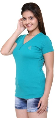 Meei Formal, Casual, Sports Short Sleeve Solid Women's Green Top