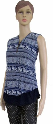 Membooz Casual, Party Short Sleeve Printed Women's Blue Top