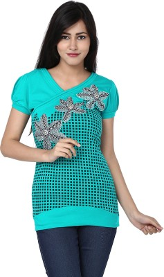 Adhaans Casual Short Sleeve Printed Women's Light Blue, Black Top