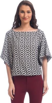 Uptownie Lite Party Short Sleeve Geometric Print Women's Black Top at flipkart