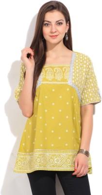 Imara Casual Short Sleeve Printed Women's Green Top