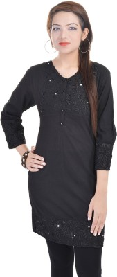 Fantasy Ika Casual 3/4 Sleeve Solid Women's Black Top