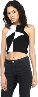 Roving Mode Casual Sleeveless Solid Women's Black Top