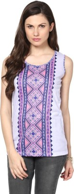 Fritzberg Party Sleeveless Printed Women's Purple Top