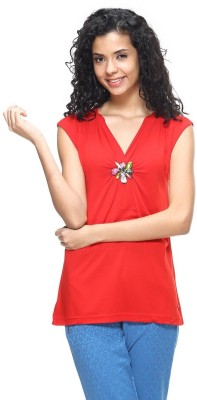 HANGNHOLD Casual Short Sleeve Solid Women's Red Top