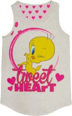 Tweety Casual Sleeveless Printed Girl's Grey Top