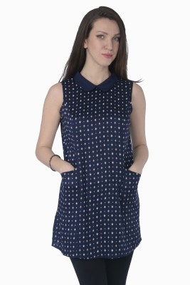 Miway Casual Sleeveless Printed Women's Blue Top