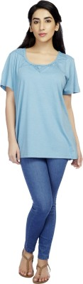 True Fashion Casual Short Sleeve Solid Women's Blue Top