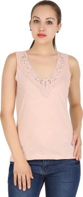 MA Casual Sleeveless Solid Women's Beige Top