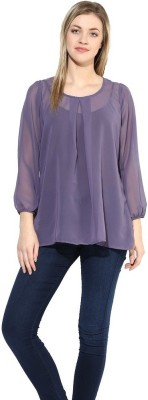 La Firangi Casual Full Sleeve Solid Women's Purple Top at flipkart
