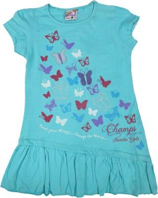 Mankoose Casual Short Sleeve Printed Girl's Blue Top