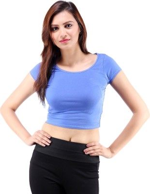 Centiaro Casual Short Sleeve Solid Women's Blue Top