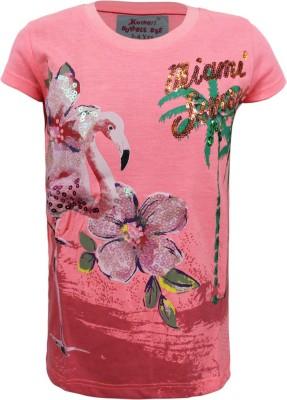 Kothari Casual Short Sleeve Printed Girl's Pink Top