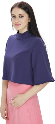 FASHMODE Casual 3/4 Sleeve Solid Women's Dark Blue Top