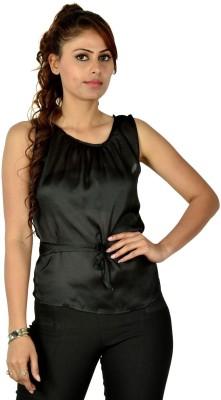 Designeez Casual Sleeveless Solid Women's Black Top