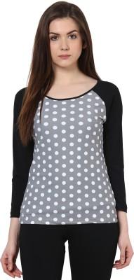 Kaxiaa Casual Full Sleeve Printed Women's Grey Top