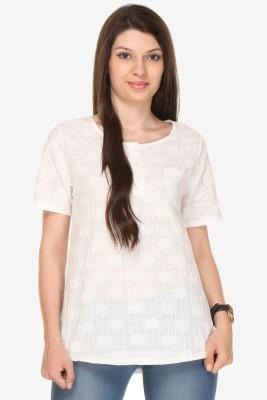 Varanga Party Short Sleeve Solid Women's White Top