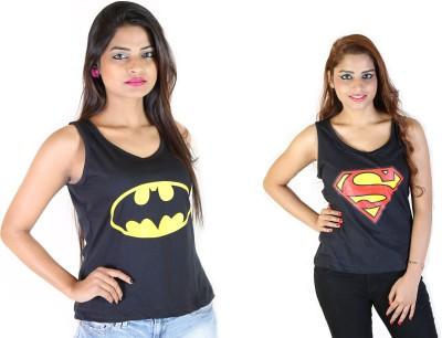 Fashion Fakir Casual Sleeveless Printed Women's Black, Black Top