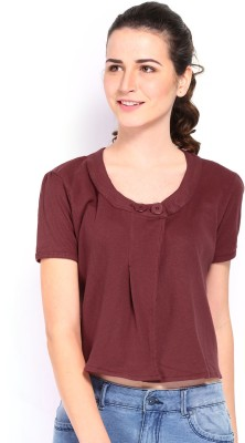 Kook N Keech Casual Short Sleeve Solid Women's Maroon Top at flipkart