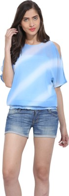 Ama Bella Casual 3/4 Sleeve Solid Women's Blue, White Top